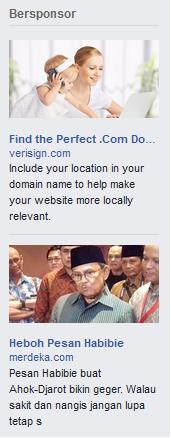 iklan muncul pada sisi kanan Facebook