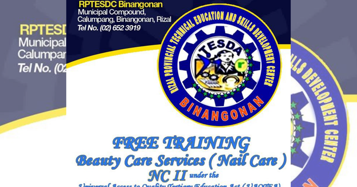 Beauty Care Services (Nail Care) NC II by Tesda Rptesdc Binangonan - Enroll Now!