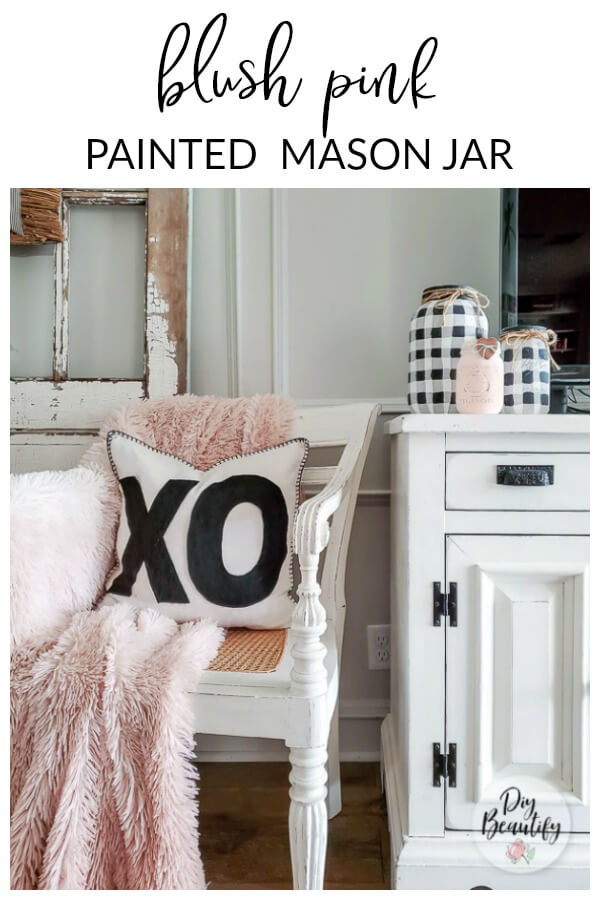 painted mason jar for Valentines decor