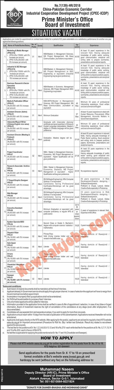NTS Jobs in CPEC China Pakistan Economic Corridor September 2018 BOI Board of Investment