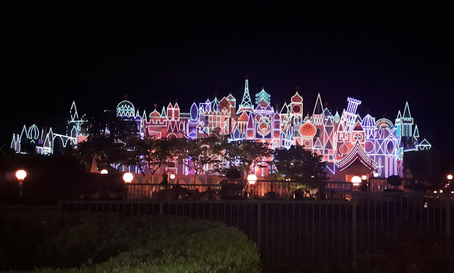 Its a Small World ride attraction at night