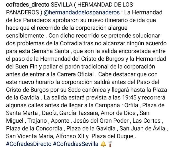 La Hermandad de los Panaderos de Sevilla aprobaron su nuevo itinerario de ida
