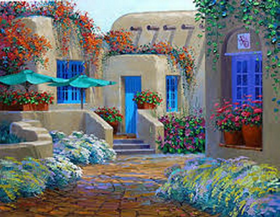 Cuadros modernos pinturas y dibujos vistosos paisajes de - Cuadros de casas ...