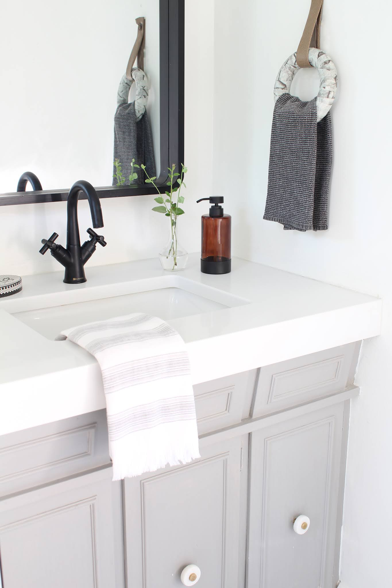 bathroom renovation with DIY Marble Towel Ring