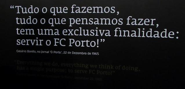 Frase do presidente Cesário Bonito no Museu do FC Porto