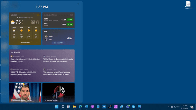 Windows 11 Widgets and Taskbar