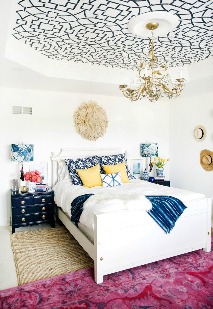 one room challenge eclectic mid century modern interior design stenciled geometric tray ceiling navy pink bedroom
