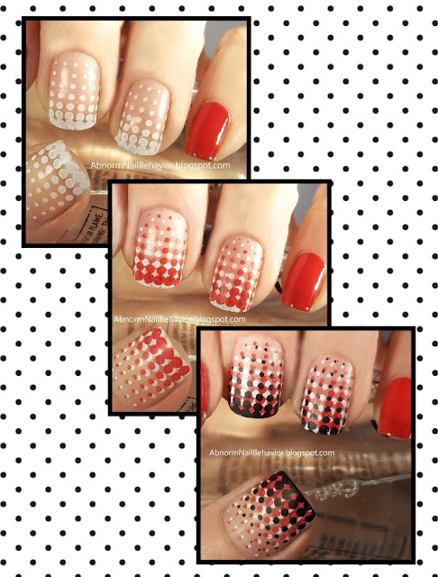 red white and black nail art easy tutorial stamping
