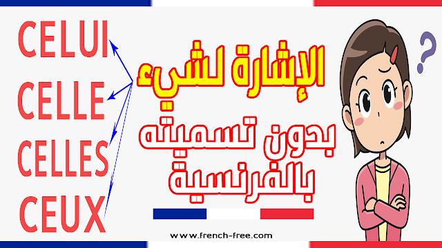 الإشارة لشيء بدون تسميته في الفرنسية CELUI و CELLE و CELLES و CEUX تعلم اللغة الفرنسية باحترافية