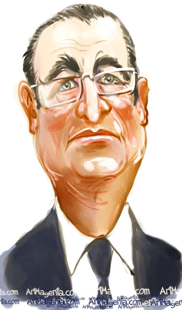 Francois Hollande caricature cartoon. Portrait drawing by caricaturist Artmagenta