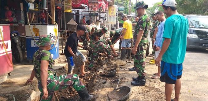 Antisipasi Banjir, TMMD Ke-106 Bangun Drainase