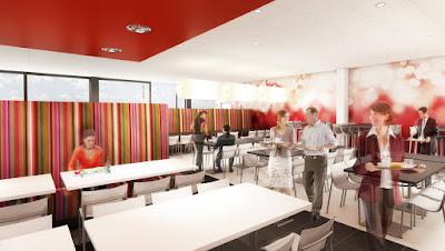 Perspective 3d restaurant entreprise Sanofi