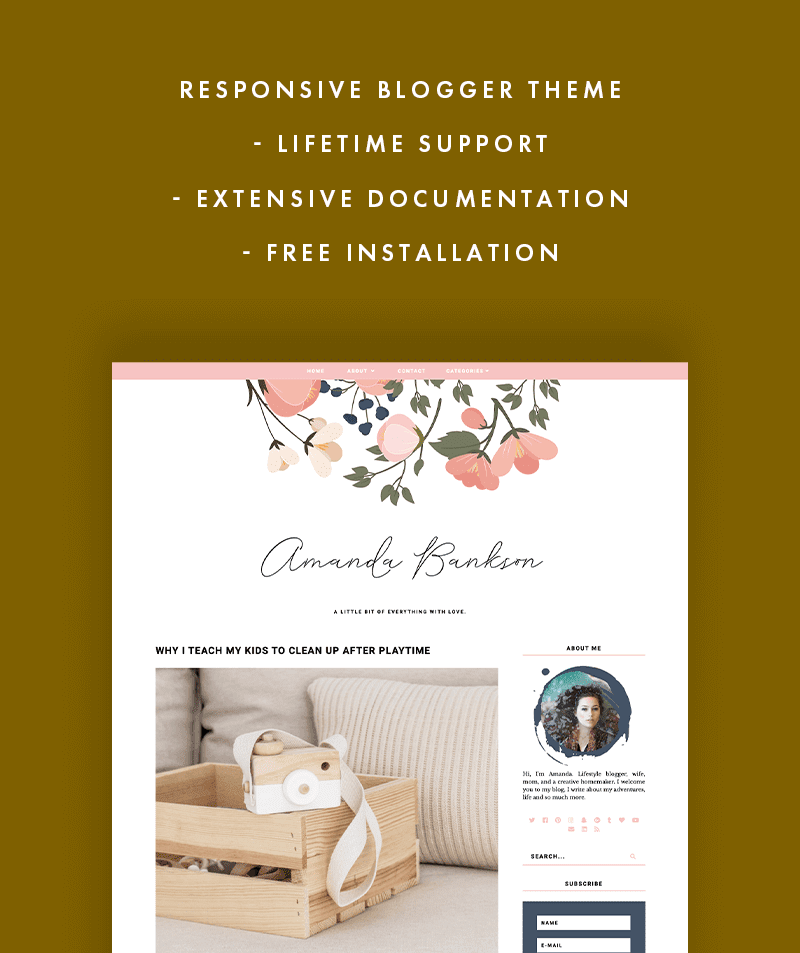 Amanda Bankson blogger theme comes with lifetime support