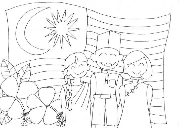 Gambar Colouring Pages Malaysia National Day Email Share