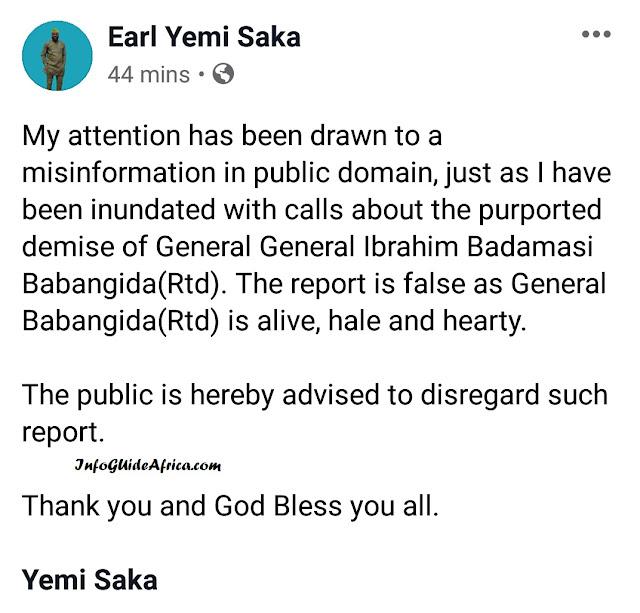 President Ibrahim Babangida Is Alive - Yemi Saka