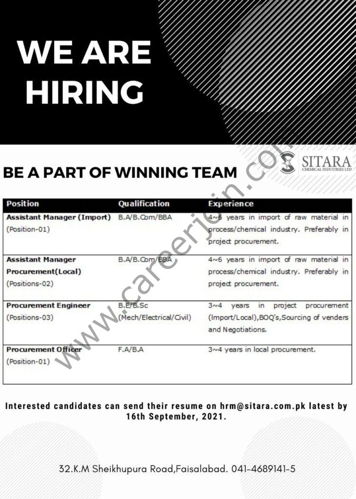 hrm@sitara.com.pk - Sitara Chemical Industries Ltd Jobs 2021 in Pakistan