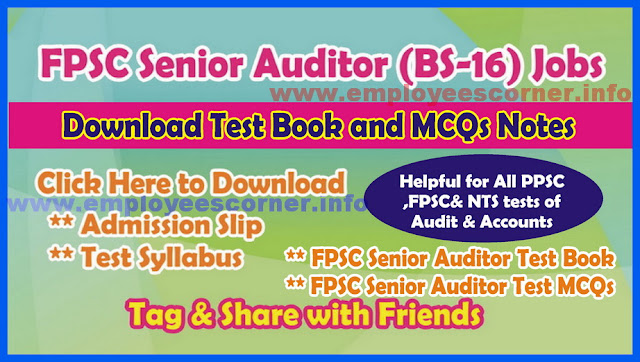 Senior Auditors Jobs in FPSC Test MCQs Book Download