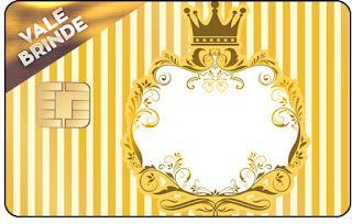 Tarjeta con forma de Visa de Corona Dorada en Azul y Amarillo.
