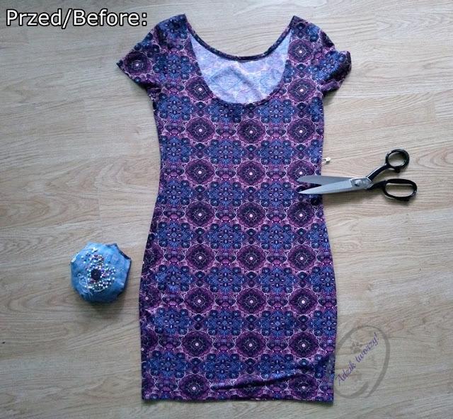 DIY: Komplet spódniczka i top z przeróbki sukienki