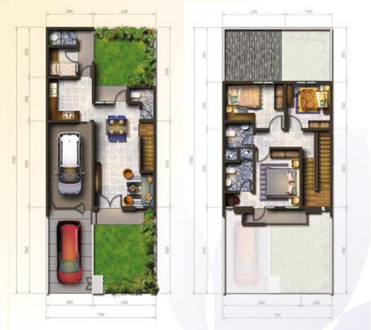 tampak depan rumah minimalis ukuran 7x17 meter 4 kamar tidur 2 lantai