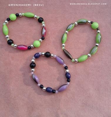 bransoletki plastikowe zielone i fioletowe dla dzieci