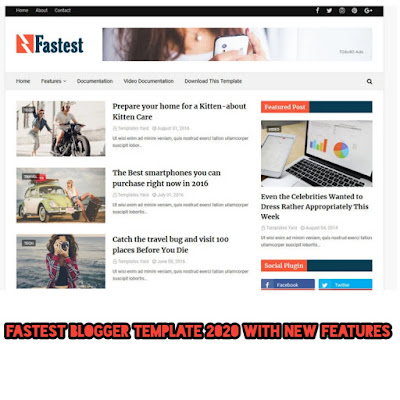 fastest blogger template 2020 with new features