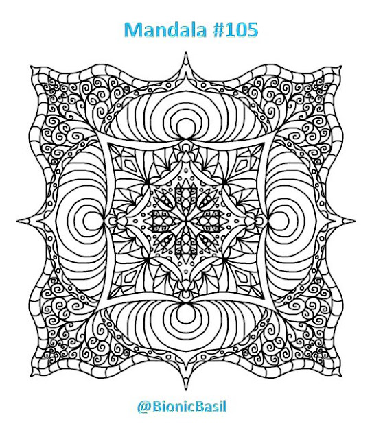 Mandalas on Monday ©BionicBasil® Colouring With Cats #105 Downloadable Image