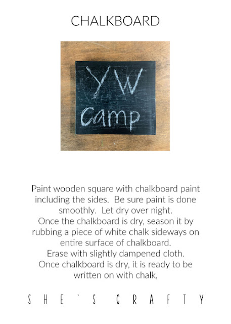 YW camp crafts - instructions for making chalkboard signs.