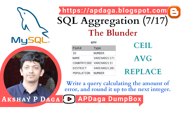 HackerRank: [SQL Aggregation - 7/17] The Blunder | CEIL, AVG & REPLACE Function in SQL