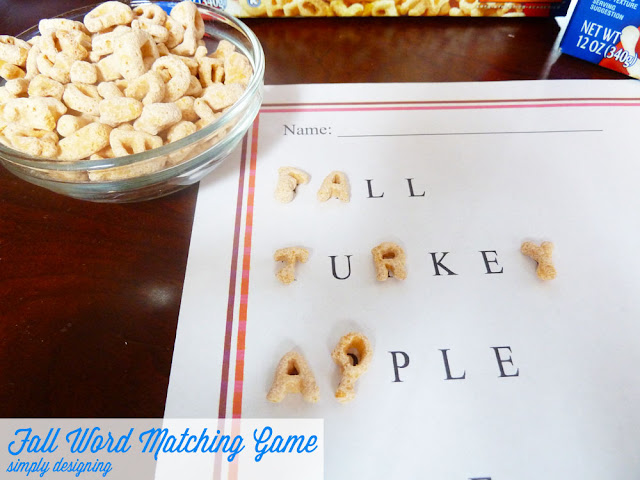 Fall Word Matching Game   a great kids activity, perfect for the fall and for Thanksgiving day   free printable   #kidsactivity #freeprintable #alphabits #sponsored
