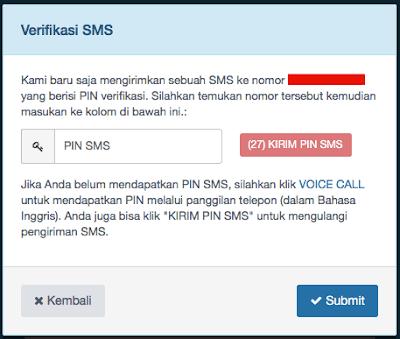 pin sms verifikasi akun indodax