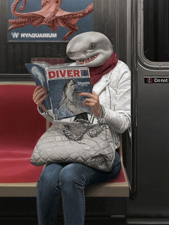 Matthew Grabelsky arte pinturas óleo surreais animais antropomórficos metrô nova york foto realismo