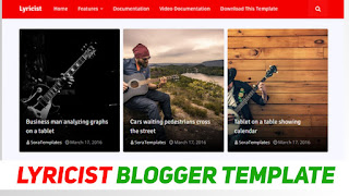 Best Blogger Template For Lyrics Niche Related | Lyricist Blogger Template