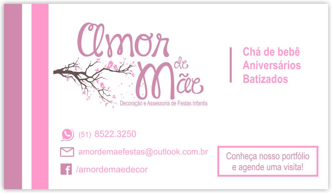 Conhecido Cartões de Visita Amor de Mãe Decoração e Assessoria de Festas  DC83
