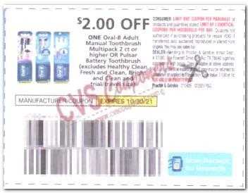 """$2.00/1 Oral B Toothbrush Coupon from """"P&G"""" insert week of 9/26/21."""