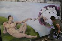 Artystyczne malowanie ściany, Stworzenie Adama, Warszawa