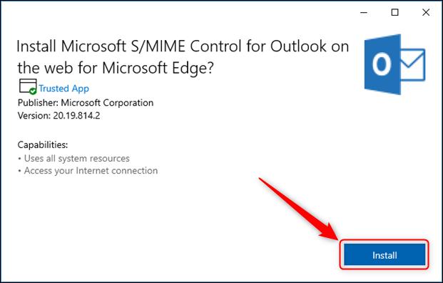 لوحة تثبيت التحكم S / MIME.