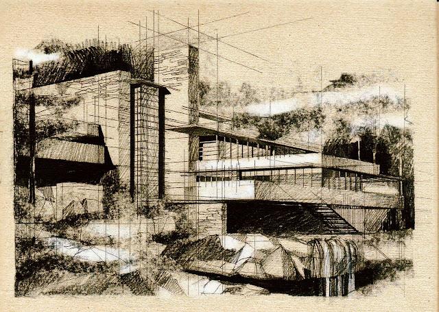 diễn họa nhà trên thác