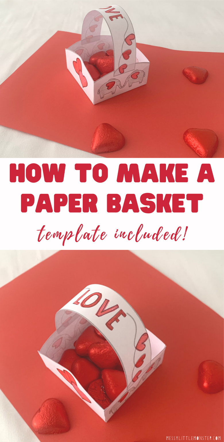 How to make a paper basket. Paper basket templates included. Easy Valentines day paper craft for kids.