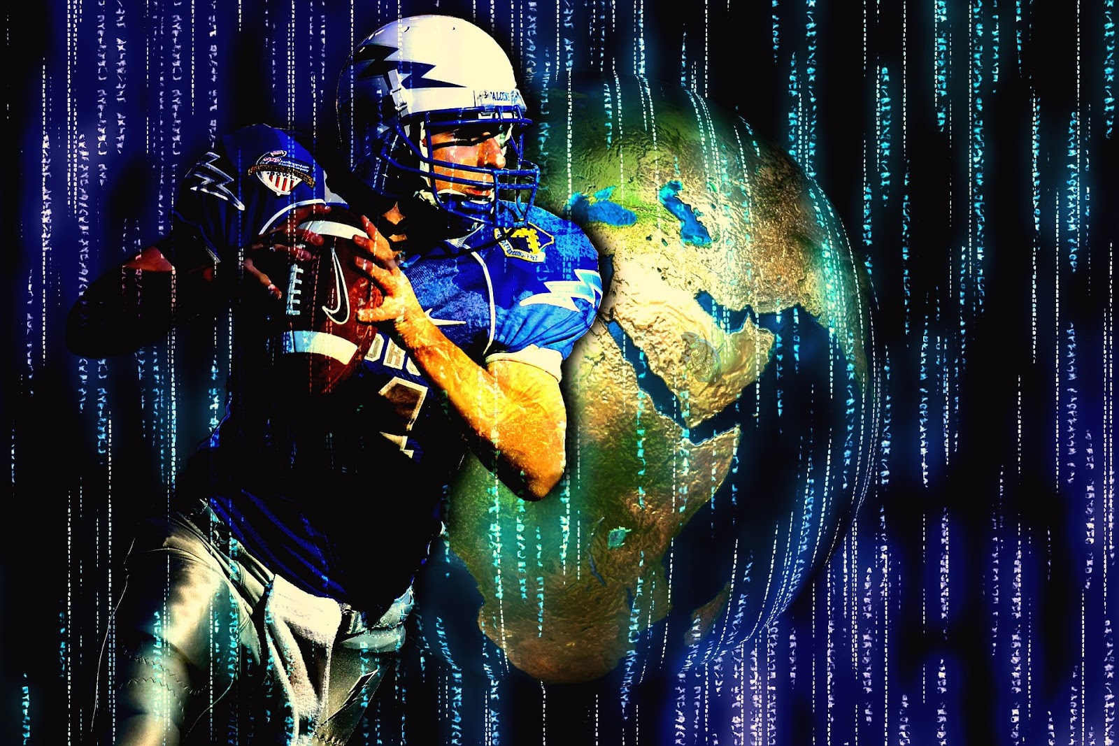football quaterback stands in front of a small earth and blue lights coming down screen