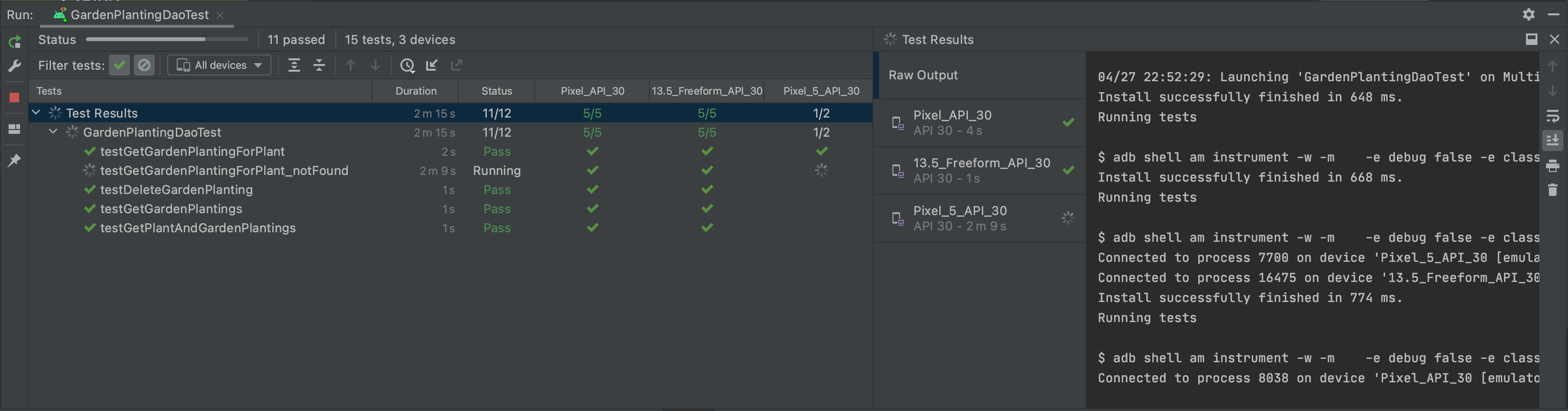 Test matrix running tests across multiple devices in parallel