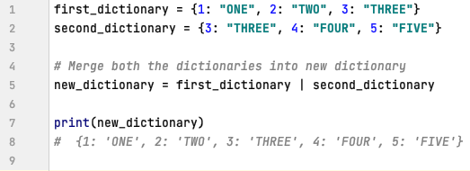 Dictionary Merge Operator in Python