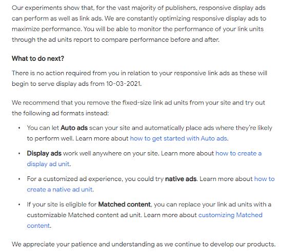 Google thông báo chấm dứt định dạng quảng cáo kiểu liên kết - link ads