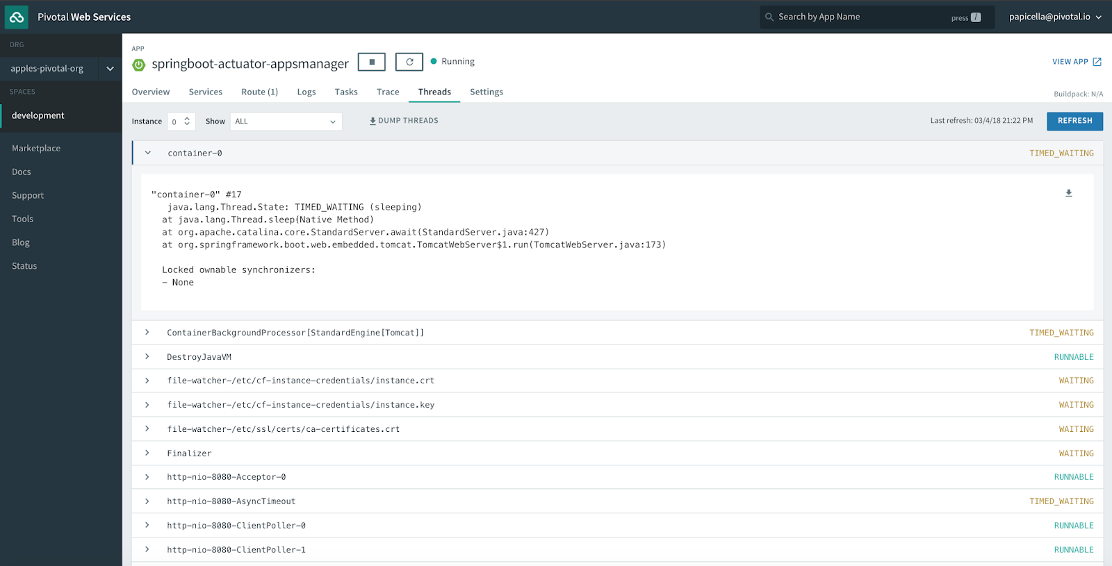 The Blas from Pas: Spring boot 2 Actuator Support and Pivotal Cloud