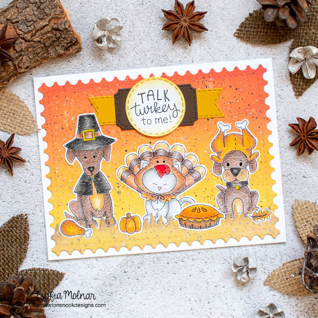 Thanksgiving card by Zsofia Molnar | Talk Turkey Stamp Set Excludsive Collaboration Stamp Set with Simon Says Stamp by Newton's Nook Designs #newtonsnook #handmade