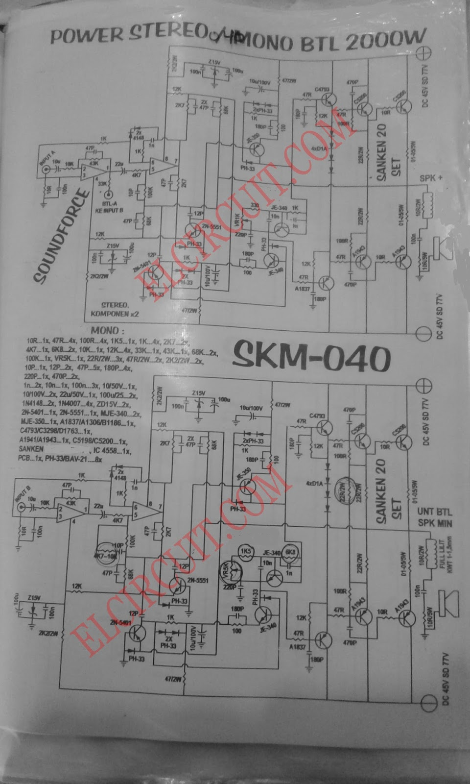 2 Watts Amplifier Schematic Diagram