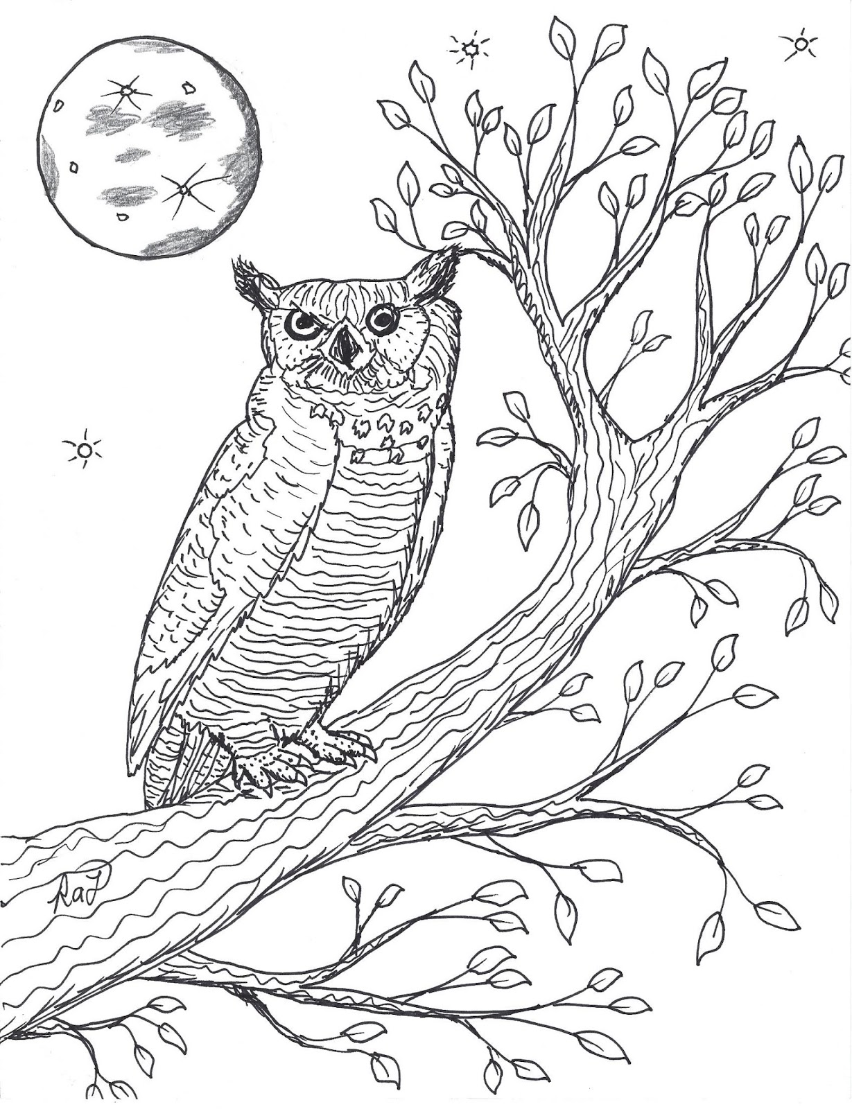 Robin S Great Coloring Pages Great Horned Owl