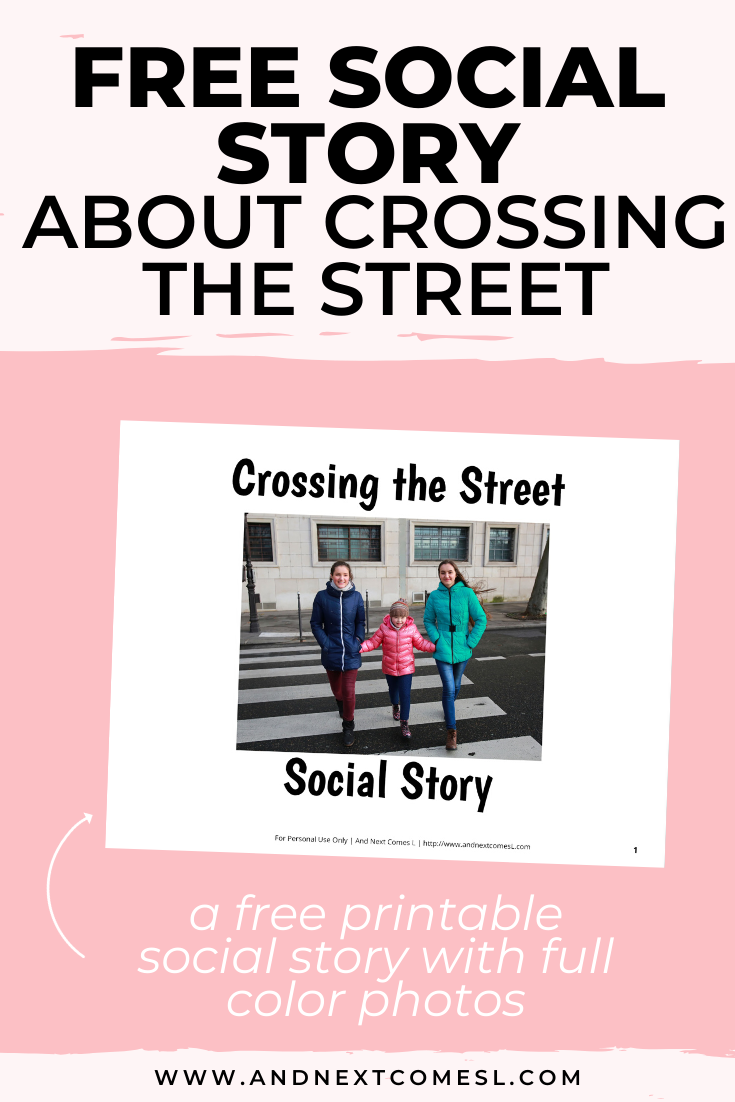 Free printable social story for kids with autism about crossing the street safely