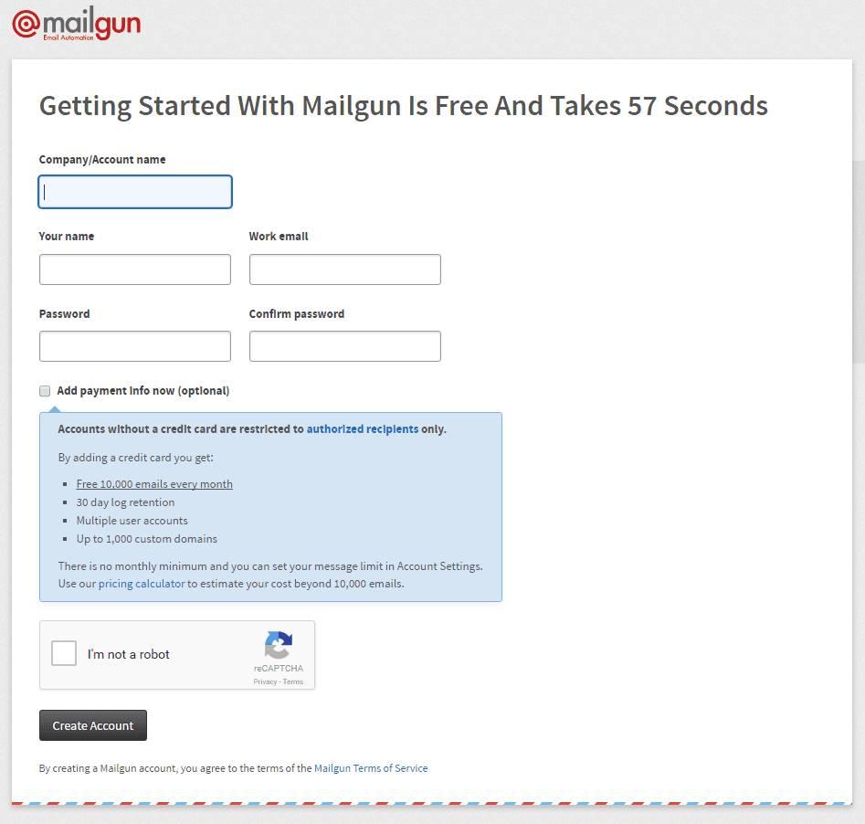 Signup mailgun