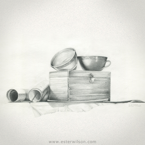 Still life Drawing of Cups and a Wooden box of Secrets
